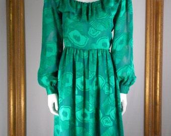 Vintage 1980's Clarisa Emerald Green Dress - Size 10