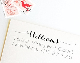 Return address stamp with script name, wedding address stamp, self inking, rubber stamp wood handle