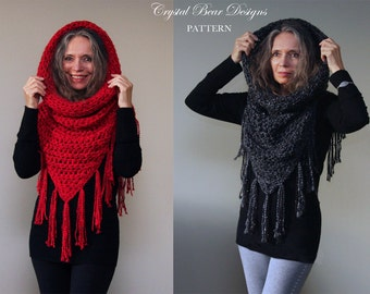 """Hooded Cowl Crochet PATTERN / Hooded Scarf Poncho / Beaded Fringe Trim  / """"Athena Hooded Cowl"""""""