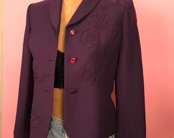 Dark purple beaded blazer S
