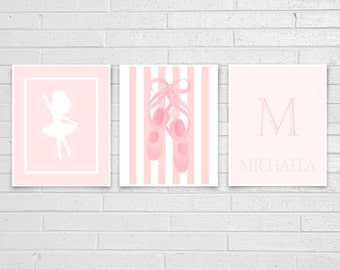 Ballet Wall Art, Ballet Art Print Set, Personalized Wall Art, Ballerina Wall Art, Girls Wall Art, Nursery Art, Monogram Art Prints.