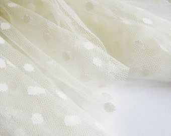 "Vanilla spot tulle fabric - 44"" wide - sold per metre"