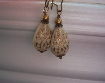 Almond And Gold Earrings - Lucite Earrings - Vintage Style Earrings - Vintage Style -  Teardrop Etched Earrings -Tribal Earrings
