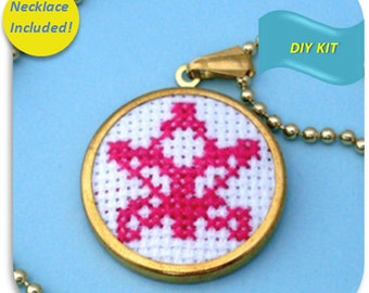 Lotus Flower Necklace - Cross Stitch DIY Kit, Yoga Jewelry, Do it yourself Jewelry, Make your own necklace