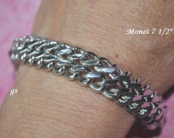 Vintage Monet Bracelet, Silver Tone, Silver Bracelet, Chunky Bracelet, Monet Jewelry, Wide Link Bracelet, Silver Chain Bracelet, GS616