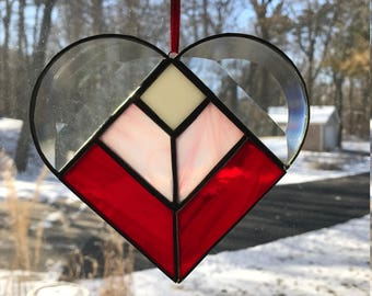 Valentines Red Pink Bevel Heart Stained Glass Suncatcher