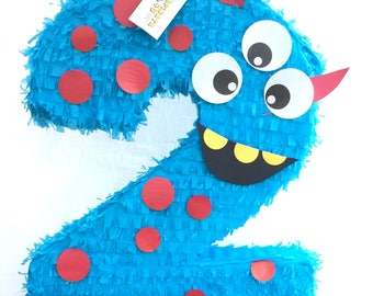 """Large Number Two Pinata Monster Theme 24"""" Tall"""