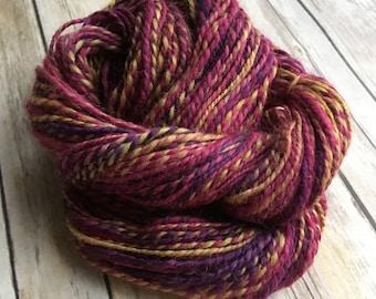 Handspun 100% Masham Wool 2-ply Yarn - Wild Pansy