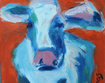 Abstract Cow Oil Painting Original Gifts for Cow Lovers Farmhouse Decor Rustic Chic Home Wall Decor Honeystreasures California Artist Art