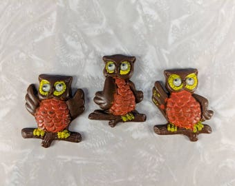 Vintage Owls Magnets - 3 Owls Refrigerator Magnets - Brown Owls - Retro Kitchen