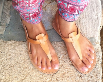 sandals, women leather T-Strap Sandals- Greek sandal