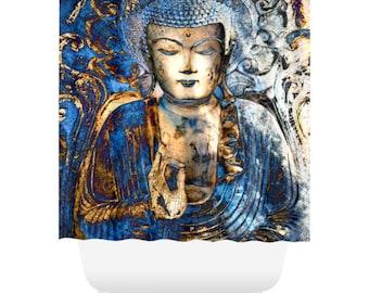 Blue Buddha Shower Curtain - Blue and Brown Buddhist Bath Curtain - Zen Bathroom Decor - Inner Guidance by artist Christopher Beikmann