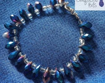 Sparkle Glam Teardrop Beaded Bracelet Blue, Purple, Vintage, Hollywood