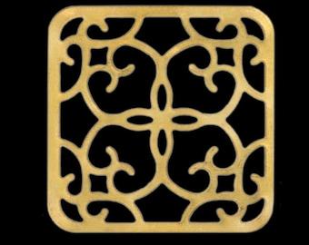 30 Pcs raw brass square 27 x 27 mm raw brass square filigree raw brass charms ,raw brass findings 476R-50