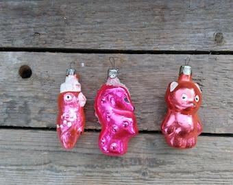 Set of 3 Soviet Vintage Christmas Tree toys,Collectible Vintage Glass Toys,Xmas Tree Toy,Glass Christmas decorations,sea horse,bear,parrot