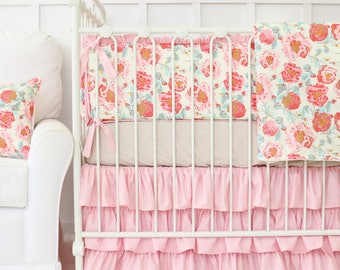 Felicity's Floral Ruffled Baby Bedding| Vintage, Pink, Floral, Flower, Ivory, Aqua, Ruffle, Baby Bumpers, Taupe Baby Girl Bedding