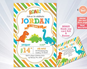 Dinosaur Invitation - Dinosaur Birthday Invitation - Dinosaur birthday party - boy girl invitation - pink blue invitation - personalized
