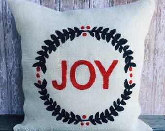 Joy Burlap Pillow Cover Throw Pillow