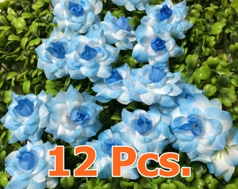 12 Blue white Rose Heads,5 cm.  for  Accessories   Decorations Wedding Crafts Headband