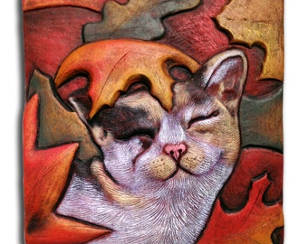 "Hand carved, hand pressed ceramic, wall sculpture, earthenware, Cat rolling in leaves, ""Fall Kitty,"" tile"