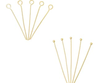 Gold plated 18K - round or ball - 10 or 100 nails gold head
