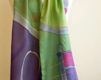 Handpainted Silk Scarf.Woman Silk Scarf.Double-layer hand painted silk scarf.Wedding Gift.Ideas for her(178x14cm)
