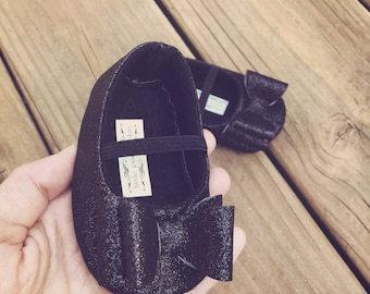 Toddler Girl Shoes Baby Girl Shoes Soft Soled Shoes Wedding Shoes Flower Girl Shoes Black Glitter Shoes Glitter Black Shoes  - Eloise