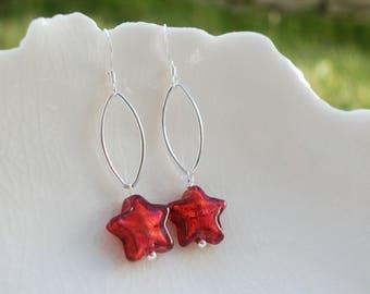 Boucles d'oreilles en verre de Murano rouge