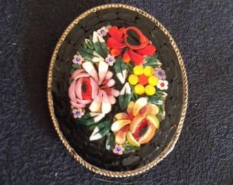 Vintage Micro-Mosaic Floral Brooch