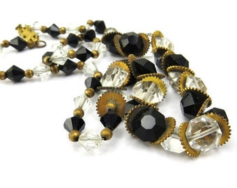 Art Deco Necklace Geometric Vintage Clear Black Glass Crystal Brass Gears Octagon Beads Steampunk Industrial 1930s Jewelry Free Gift Wrap