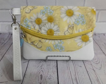 Foldover Clutch, Butterflies and Daisy Fabric Foldover Wristlet w/White Vinyl Accents and Strap, Swoon Heidi, foldover wristlet