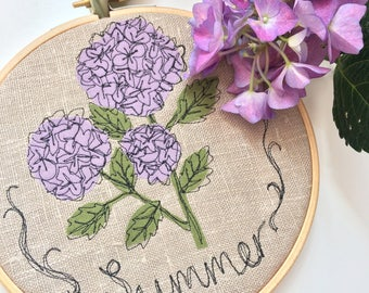 Embroidered Summer decorative hanging hoop