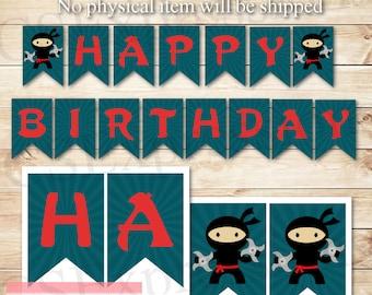 Digital Blue Ninja Birthday Banner