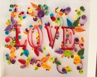 Handmade paper quilled HOME frame