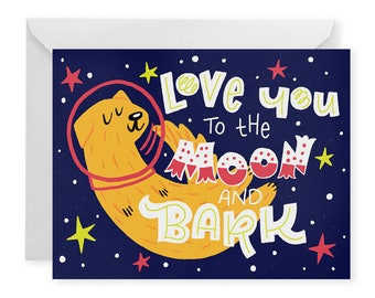 Moon and Bark A2 Greeting Card