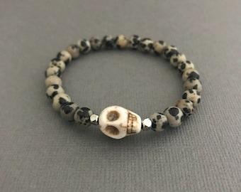 Animal Print Skull Bracelet, Dalmatian Jasper Bracelet, White Skull Bracelet, Stretch Skull Bracelet, Gifts for Her, Small Bracelets