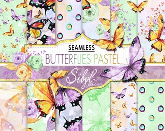 60% OFF SALE,  Pastel Butterflies, Digital Watercolor  Paper, Watercolor Butterfly Pastel Flowers, Hand Painted Paper, Seamless Pattern
