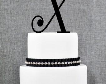 Personalized Monogram Initial Wedding Cake Toppers -Letter X, Custom Monogram Cake Toppers, Unique Cake Toppers, Traditional Initial Toppers