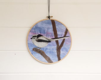 Long tail Tit fabric embroidery hoop art