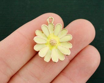 2 Daisy Charms Gold Tone and Yellow Enamel Bright and Fun - E561