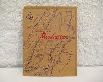 Greetings From Manhattan - letterpress card - history - new york city - map - notecard - new york