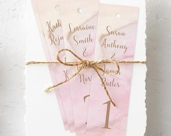 Hanging Bookmarks, Wedding Reception Seating Cards, Semi Custom - Rose Gold, Precious Stone