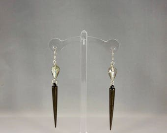 Gunmetal spike earring with multi-color crystal bead