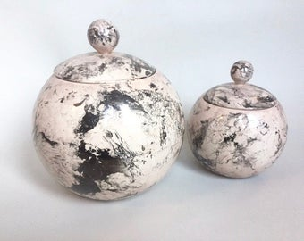 Vintage Set of 2 Marbleized Round Jars with Lids
