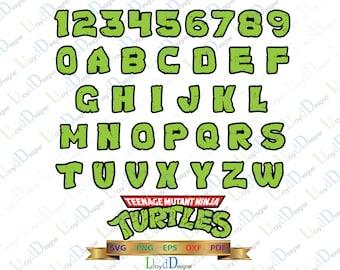 Teenage mutant ninja turtles Alphabet SVG Ninja Turtles Font Logo Letter Ninja Turtles Birthday party svg eps png dxf cut files cameo cricut