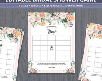 bingo card template bridal shower game wedding fuschia pink. Black Bedroom Furniture Sets. Home Design Ideas