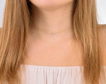 Delicate CZ Necklace / Tiny Diamond Necklace / Simple CZ Necklace / Single CZ / Cubic Zirconia / Layering Necklace / April Birthstone