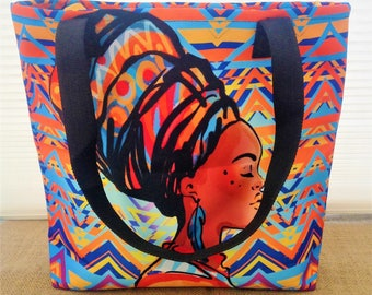 African beauty Shopping bag, African Tote, African Market Bag, African bag African woman, Multicolour African shopping bag