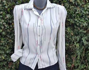 Womens Vintage Blouse, Alexandria 1970s Button Up, Ivory & Multi Color Stripes, Office Wear, Size 4 Small