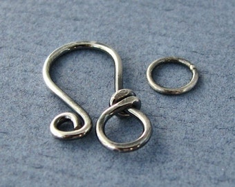 Sterling Silver Clasp, Oxidized Antiqued Classic Wrapped Handmade Findings, 18g
